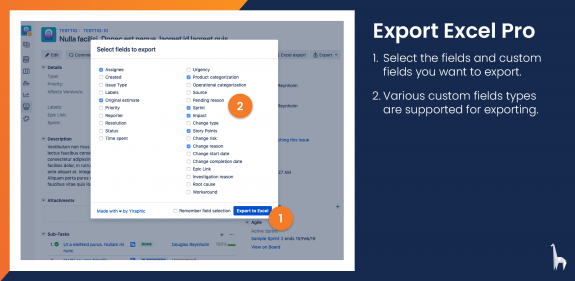 Select the fields and custom fields you want to export.