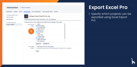 Select in which projects the export button should be available.