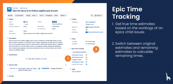 Keep track of all time logged on a epic's child issues using the Epic Time Tracking panel in the issue view.