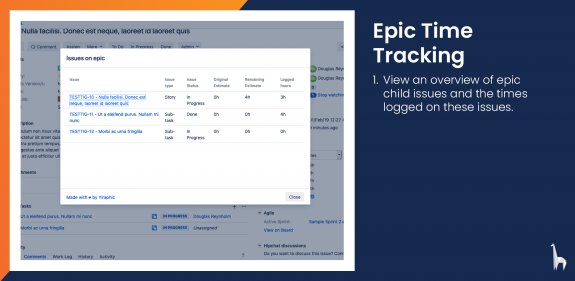 View a detailed overview of times logged on the child issues of an epic.